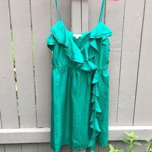 Milly Emerald Silk Wrap Dress Size 6